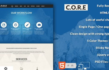 Core - One Page Responsive HTML5 Template http://Glukom.com