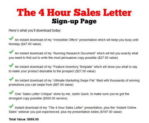 Justin Quick Marketing U2013 4 Hour Sales Letter  Persuasive Sales Letter